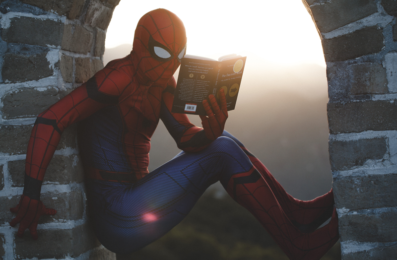 Spiderman Reading in a nook